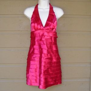 TWENTY ONE Dress, S, Halter Bandage, Tiered Red